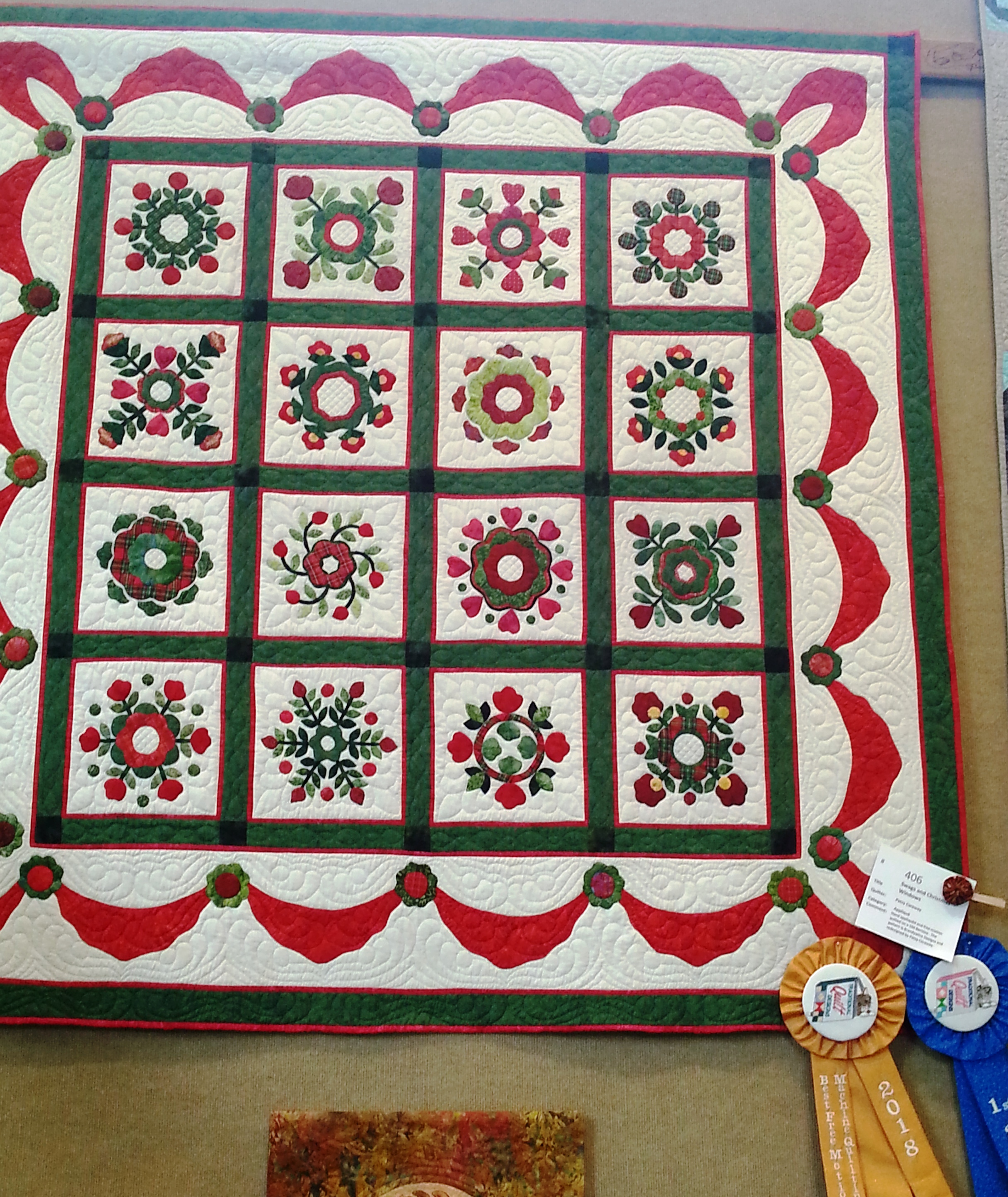 Best Free Motion Machine Quilting and 1st Place - Applique